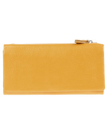 Utopia Zip Around Leather Wallet Mustard