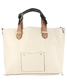 Utopia Pocket Detail Tote Bag Beige