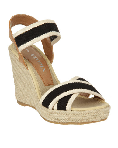 Utopia Cross Strap Wedge Sandals Black