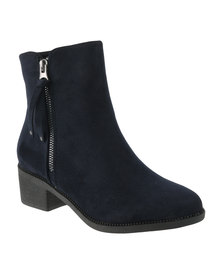 Utopia Side Zip Boots Navy Blue