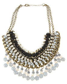 Utopia Multiweave Statement Necklace Grey