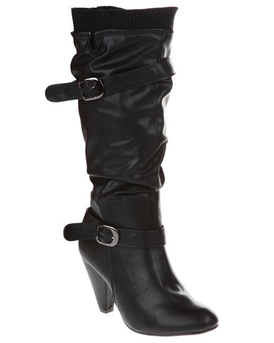 Utopia Buckle Collar Boots Black
