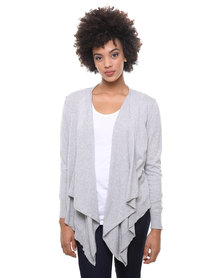 Utopia Cotton Open Shrug Cardigan Light Grey