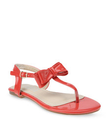 Utopia Flat Patent Sandals Red