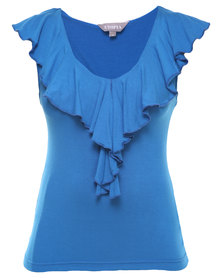 Utopia Ruffle Fitted Top Cobalt