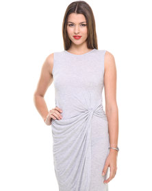 Utopia Knot Dress Grey Melange