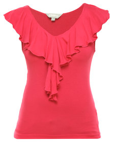 Utopia Ruffle Fitted Top Cerise