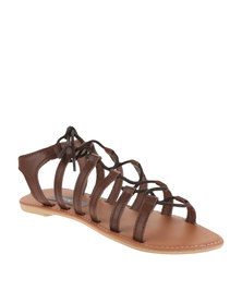 Utopia Leather Gladiator Sandals Light Brown
