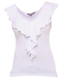 Utopia Ruffle Fitted Top White