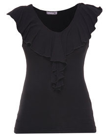 Utopia Ruffle Fitted Top Black