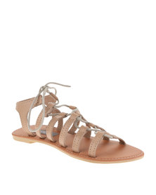 Utopia Leather Gladiator Sandals Camel
