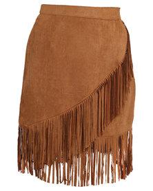 Utopia Fringe Skirt Camel