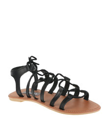 Utopia Leather Gladiator Sandals Black