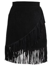Utopia Fringe Skirt Black