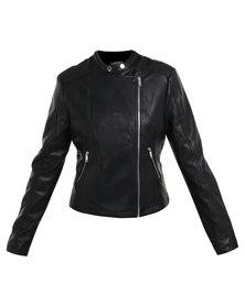Utopia PU Biker Jacket Black