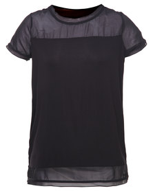 Utopia Sheer Inset Tee Black