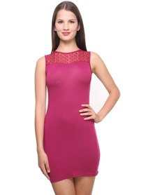 Utopia Shift Dress with Lace Inset Purple