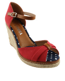 Utopia Cinched Wedge Espadrille Sandals Red