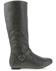 Utopia Buckle Trim Boots Grey