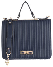 Utopia Coated Structured Bag With Gold Chain & Trim Navy