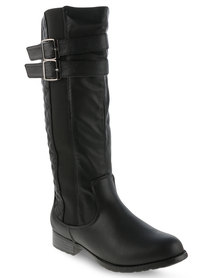 Utopia Quilted Riding Boots Black