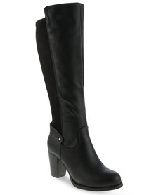 Utopia Knee High Heel Boots Black