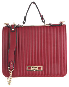 Utopia Coated Structured Bag with Gold Chain and Trim Burgundy