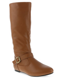 Utopia Buckle Trim Boots Tan