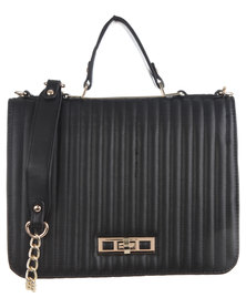 Utopia Coated Structured Bag with Gold Chain and Trim Black