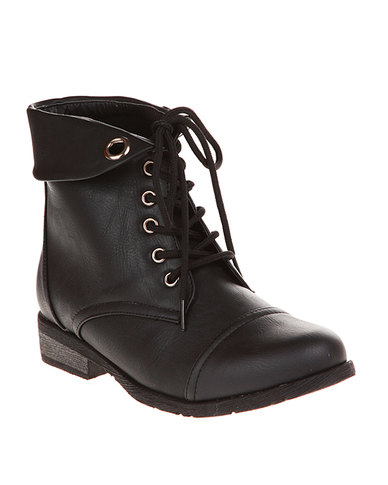 Utopia Lace-Up Plain Boots Black