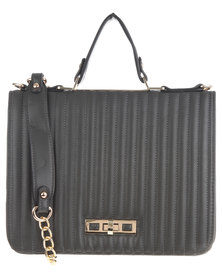 Utopia Coated Structured Bag with Gold Chain and Trim Grey