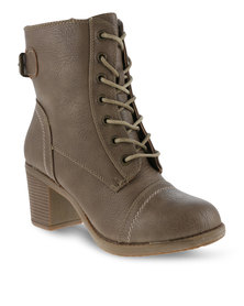 Utopia Lace Up Ankle Boots Taupe