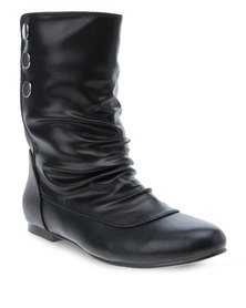 Utopia Button Ankle Boots Black