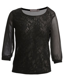 Utopia Blouse with Lace Front  Black