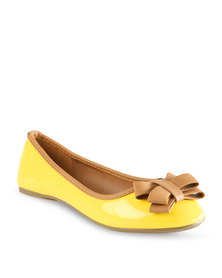 Utopia Bow Ballet Pumps Yellow