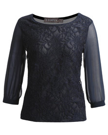 Utopia Blouse with Lace Front Navy