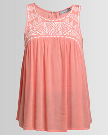 Utopia Embroidered Babydoll Top Coral