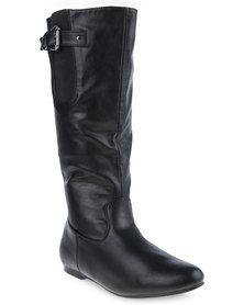 Utopia  Buckle Elastic Boots Black