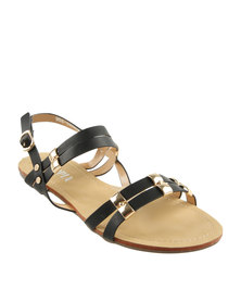 Utopia Trim Barely There Flat Sandals Black