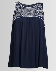 Utopia Embroidered Babydoll Top Navy