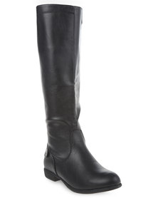 Utopia Back Saddle Riding Boots Black