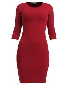 Utopia Ripple Ponti Bodycon Dress Red