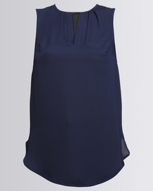 Utopia Georgette Henley Blouse Navy