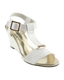 Utopia Gold Trim I Bar Wedge Sandals White