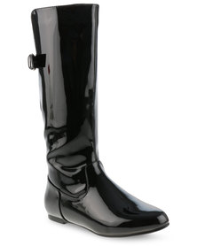 Utopia Patent Knee High Boots with Buckle Detail Black