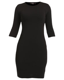 Utopia Ripple Ponti Bodycon Dress Black