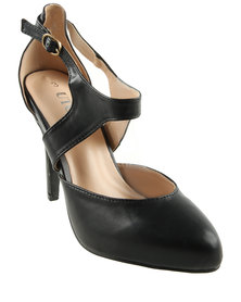 Utopia Vamp Strap Heel Court Shoes Black