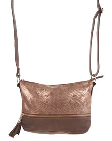 Utopia Python Zipped Cross Bag Copper