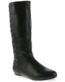 Utopia Quilted Knee High Boots Black