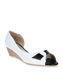 Utopia Monochrome Peep-Toe Wedges Black